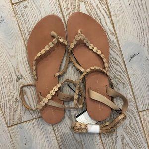 NWT Zara Trafaluc Nude Tie Leather Sandals
